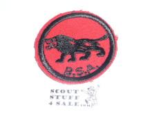 Lion Patrol Medallion, Felt w/BSA & Solid Black Ring back, 1933-1939