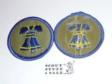 Liberty Patrol Medallion, Grey Twill with plastic back, 1972-1989