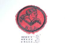 Frontiersman Patrol Medallion, Felt w/BSA & Solid Black Ring back, 1933-1939, lt. use