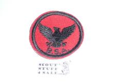 Flying Eagle Patrol Medallion, Felt w/BSA & Solid Black Ring back, 1933-1939