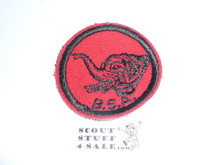 Elephant Patrol Medallion, Felt w/BSA & Solid Black Ring back, 1933-1939