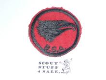 Eagle Patrol Medallion, Felt w/BSA & Solid Black Ring back, 1933-1939, Used