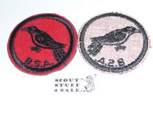 Cuckoo Patrol Medallion, Felt w/BSA & Solid Black Ring back, 1933-1939