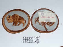 Bison Patrol Medallion, Grey Twill (tan Bison) with plastic back, 1972-1989