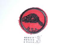 Beaver Patrol Medallion, Felt w/BSA & Solid Black Ring back, 1933-1939, used