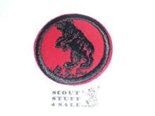Bear Patrol Medallion, Red Twill with plastic back, 1955-1971