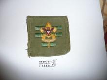 Senior Patrol Leader Patch - 1946 - 1954 - Tall Crown Khaki Cloth (S5) - Used #3