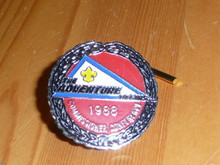 "1988 ""The Adventure Begins"" Commissioner Conference Pin - Scout"