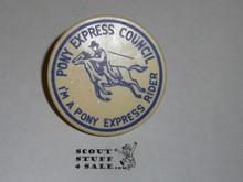 """Pony Express Council, """"I'm a Pony Express Rider"""" Neckerchief Slide"""