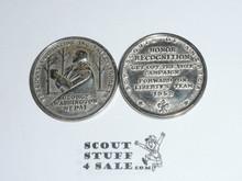 1952 Freedom Foundation Boy Scout George Washington Coin / Token, Chrome finish