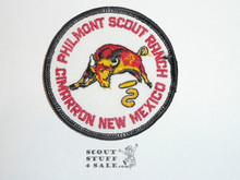 Philmont Scout Ranch, White Twill Round Bull Patch, Plastic Back