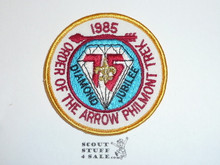 Philmont Scout Ranch, 1985 Seventy Fifth BSA Anniversary Order of the Arrow Philmont Trek Patch, Gold Border