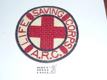 Red Cross Life Saving Corps ARC Jacket Patch, round, sewn