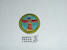 Wood Carving - Type H - Fully Embroidered Plastic Back Merit Badge (1972-2002)