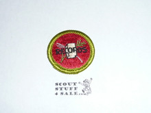 Farm Records - Type H - Fully Embroidered Plastic Back Merit Badge (1971-2002)