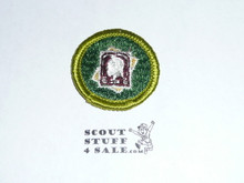 Stamp Collecting - Type G - Fully Embroidered Cloth Back Merit Badge (1961-1971)