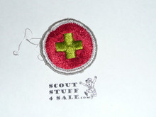 First Aid (Silver bdr) - Type G - Fully Embroidered Cloth Back Merit Badge (1961-1971)