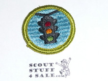 Traffic Safety - Type G - Fully Embroidered Cloth Back Merit Badge (1961-1971)