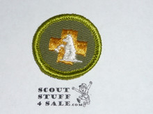 First Aid to Animals - Type F - Rolled Edge Twill Merit Badge (1961-1968)