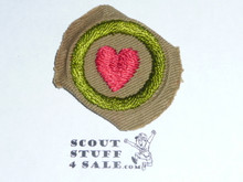 Personal Health - Type C -  Tan Crimped Merit Badge (1936-1946)