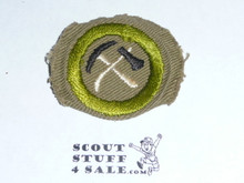 Pioneering - Type C -  Tan Crimped Merit Badge (1936-1946)