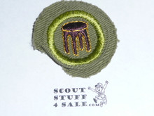 Woodwork - Type E - Khaki Crimped Merit Badge (1947-1960)
