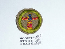 Wood Carving - Type C -  Tan Crimped Merit Badge (1936-1946)