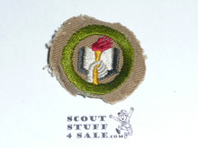 Scholarship - Type C -  Tan Crimped Merit Badge (1936-1946), used