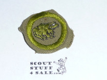 Zoology - Type C -  Tan Crimped Merit Badge (1936-1946), Used