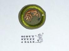 Stalking - Type E - Khaki Crimped Merit Badge (1947-1960)