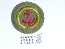 Seamanship - Type E - Khaki Crimped Merit Badge (1947-1960)