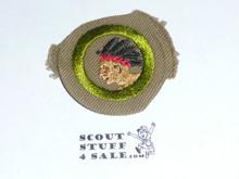Pathfinding - Type B - Wide Crimped Bdr Tan Merit Badge (1934-1935)