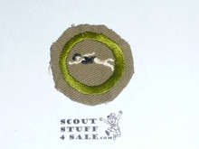 Swimming - Type B - Wide Crimped Bdr Tan Merit Badge (1934-1935), Used