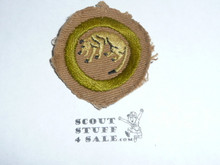 Stalking - Type A - Square Tan Merit Badge (1911-1933), Material Trimmed