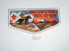 Tribe of Mic-O-Say (Pony Express Council) white bdr flap patch, used
