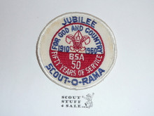 1960 National Jamboree White Twill Jubilee Scout-O-Rama Patch, Lt use and twill discoloration