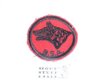 Wolf Patrol Medallion, Felt w/BSA & Solid Black Ring back, 1933-1939, Used