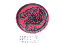 Tiger Patrol Medallion, Red Twill with plastic back, 1955-1971