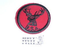 Stag Patrol Medallion, Red Twill with plastic back, 1955-1971