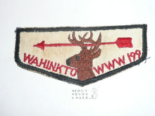 Order of the Arrow Lodge #199 Wahinkto f2 Flap Patch, unused but twill discolored