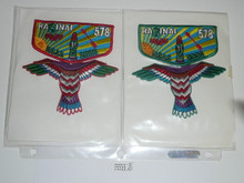 Order of the Arrow Lodge #578 Hasinai 2 Different 2006 NOAC 2 piece Flap Patch Set