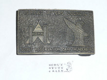 Hohn Scout Reservation & Camp Thunderbird Cast Belt Buckle from 1970's