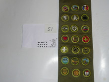 1950's Boy Scout Merit Badge Sash with 21 Crimped Merit badges, #51