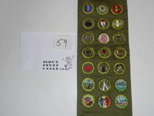 1950's Boy Scout Merit Badge Sash with 21 Khaki Crimped Merit badges, #59