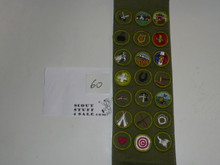 1960's Boy Scout Merit Badge Sash with 21 Rolled Edge Merit badges, #60