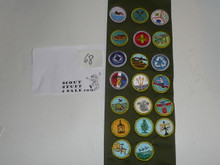 1980's Boy Scout Merit Badge Sash with 20 rolled edge Merit badges, #68