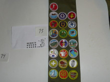 1990's Boy Scout Merit Badge Sash with 22 rolled edge Merit badges, #73