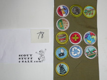 1980's Boy Scout Merit Badge Sash with 11 rolled edge Merit badges, #78