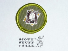 Stamp Collecting - Type F - Rolled Edge Twill Merit Badge (1961-1968), sewn