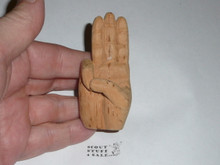Scout Sign carved wood neckerchief slide, unpainted